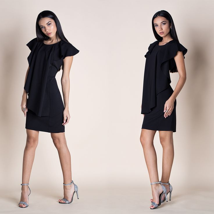 BIG CITY LIGHTS RUFFLED OVERLAY MINI DRESS BLACK  --- This fitted mini dress is the epitome of sophistication. With a flattering round neckline and dramatic ruffled overlay, this is a contemporary and romantic addition to your high-class wardrobe. Elevate the look with metallic platform sandals. - Mini - Fitted - Round neckline - Sleeveless - Ruffled overlay - Front pleats - Back zip-up closure