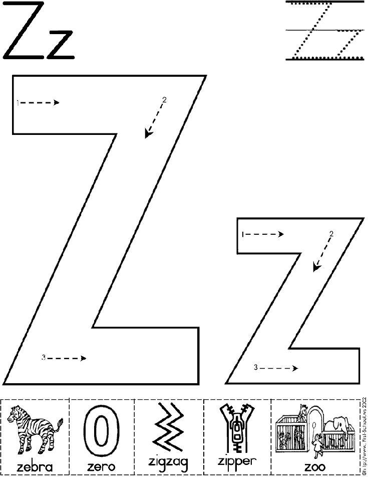 Alphabet Letter Z Worksheet Standard Block Font