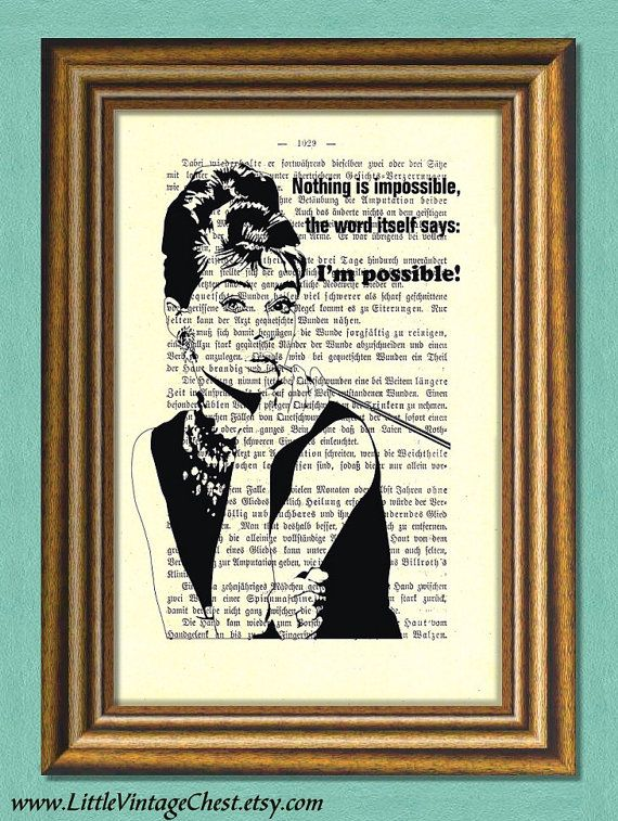 Black Friday! Buy 1 Get 2! - NOTHING IS IMPOSSIBLE  Audrey Hepburn Quote  by littlevintagechest, $7.99