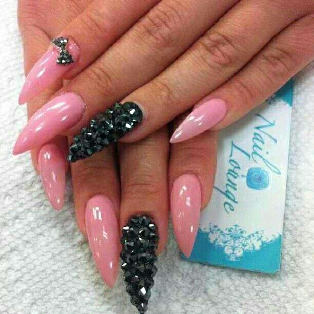Pink & Black Studded Stileto Nails | Nailed It Manicure ...