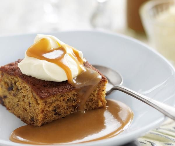 Date and ginger cake with caramel sauce