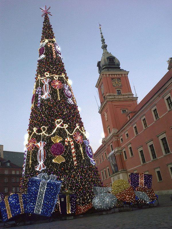 Choinka na Placu Zamkowym w Warszawie + animacja od Google - Christmas Tree in Warsaw, 2013 ...Tannenbaum in Warschau http://krukzzabiejgory.wordpress.com/2013/12/24/wesolych-swiat-zyczy-marlene-dietrich/