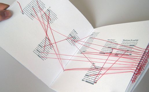 Dan Collier. Typographic Links is a hand-sewn book which maps interesting links and connections throughout the world of typography. Red threads are used as three-dimensional 'hyperlinks' to guide the reader through the pages. This is an interesting outcome for a project heavily based on digital information and content.
