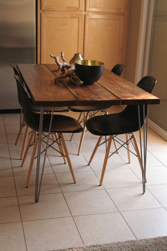 organic modern rustic dining table with hairpin legs on. Black Bedroom Furniture Sets. Home Design Ideas