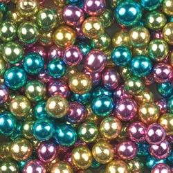 Jewel Colored Edible Pearl Cupcake Toppings in Metallic Pink, Lime, Aqua, Gold and Silver  (2 oz. - 6 mm). $5.95, via Etsy.