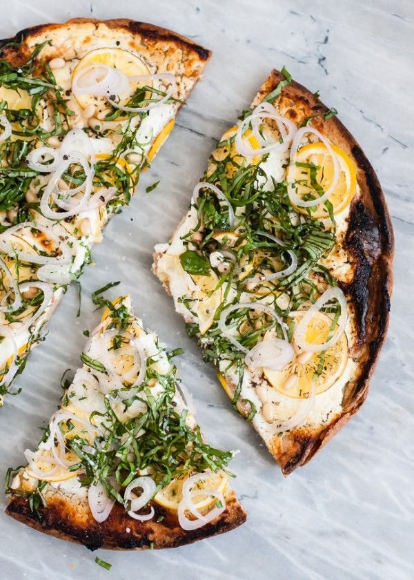 quinoa pizza with meyer lemon, goat cheese, and basil.