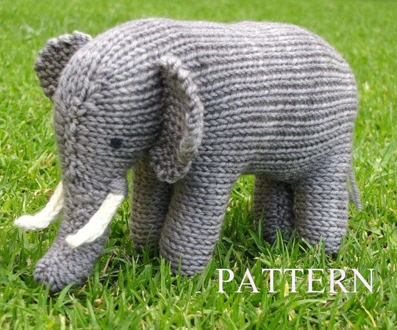 Elephant by mamma4earth knitting pattern Pdf $5.00 on Etsy at http://www.etsy.com/listing/159980303/elephant-knitting-pattern-pdf?ref=related-2