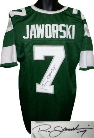 Ron Jaworski Autographed/Hand Signed Philadelphia Eagles Green TB Prostyle Jersey- JSA Hologram by Hall of Fame Memorabilia. $224.95. Ron Jaworski finished his 17 season career with 2187 completions on 4117 attempts for 28190 yards 179 touchdowns and 164 interceptions. At one time he held the record for most consecutive starts by a quarterback with 116 having since been surpassed by Brett Favre and Peyton Manning. Ron Jaworski has hand autographed this Philadelphia ...
