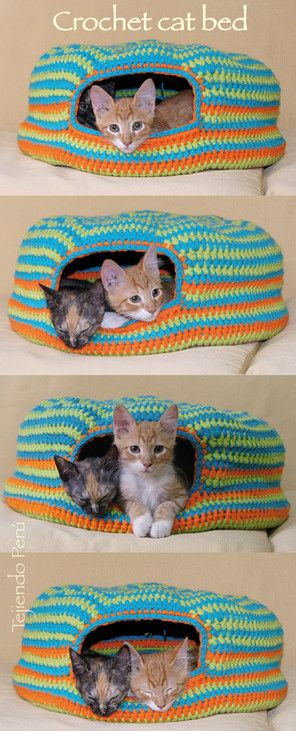 Crochet cat bed or nest!. Paso a paso : cama para gatos tejida a crochet English subtitles video!