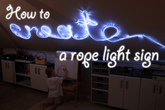 How to create a rope light wall art word sign.