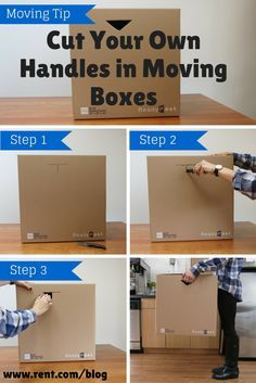 Moving Tip: Cut your own handles in moving boxes to make lifting them easier! This simple packing tip is easy to do, and so helpful. Check out the rest of our packing tips to ease the stress of moving.