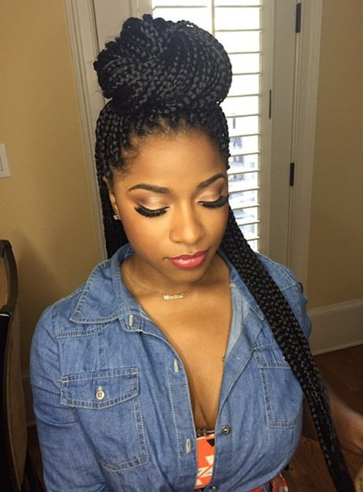 Best 25 Box Braids Bun Ideas On Pinterest Box Braids