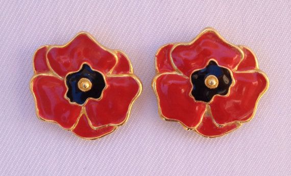 Vibrant Vintage Escada Flower Earrings  Red by SixpenceBride