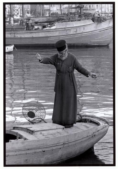 Priest fishing in Kalymnos.