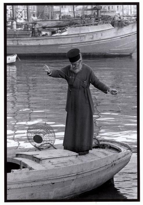 Priest fishing in Kalymnos.