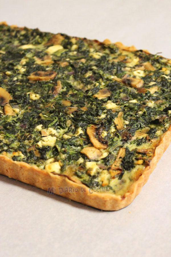 Mi Diario de Cocina | Tarta de espinacas, champiñones y queso | http://www.midiariodecocina.com/
