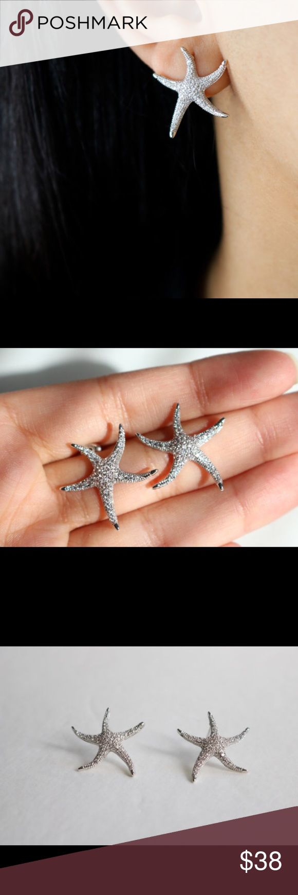 White Gold Plated Sparkly Starfish Earrings Boutique