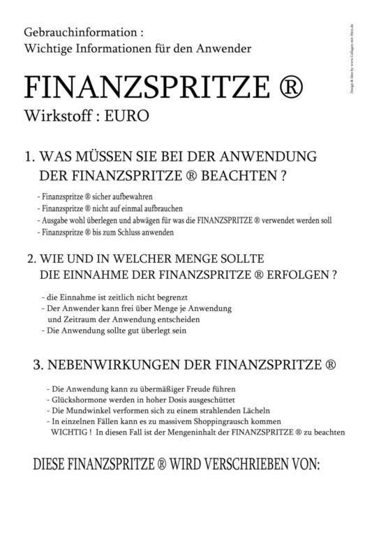 1 Finanzspritze Als Geldgeschenk   Geburtstag   20 Farben Mit Beipackzettel