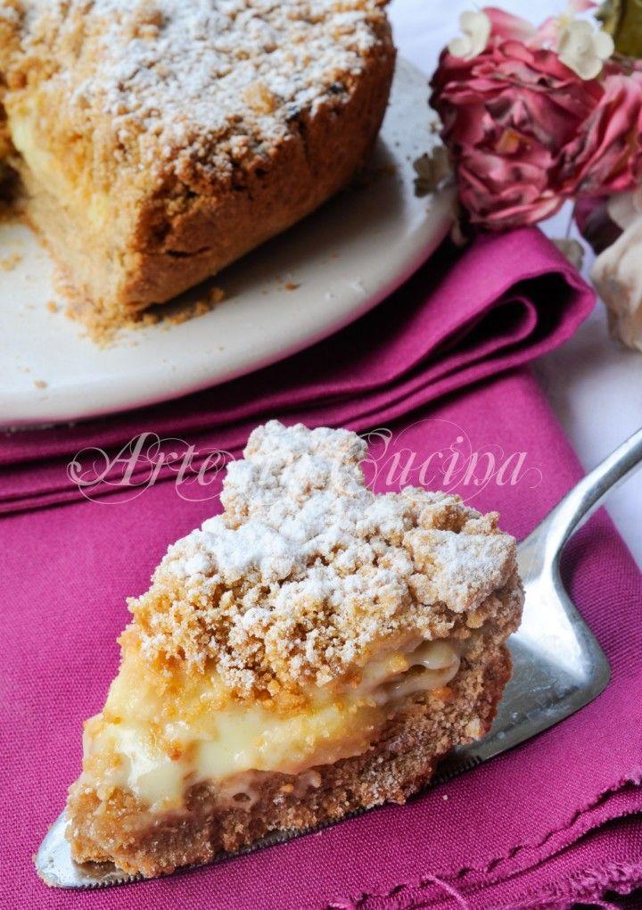 Torta con biscotti secchi alla crema di limone e mele vickyart arte in cucina