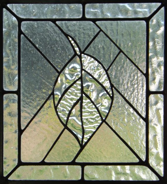 Stained Glass Panel Textured Clear Glass Leaf Cas