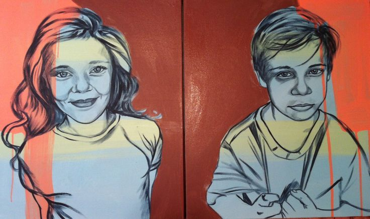 Twins. Acrylic on canvas 600cm x 1100cm. In the style of Bromely, by Tara Green 2014.