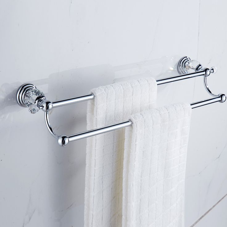 luxury brass polished towel racks antique double layer towel bars gold crystal towel holder bathroom accessories