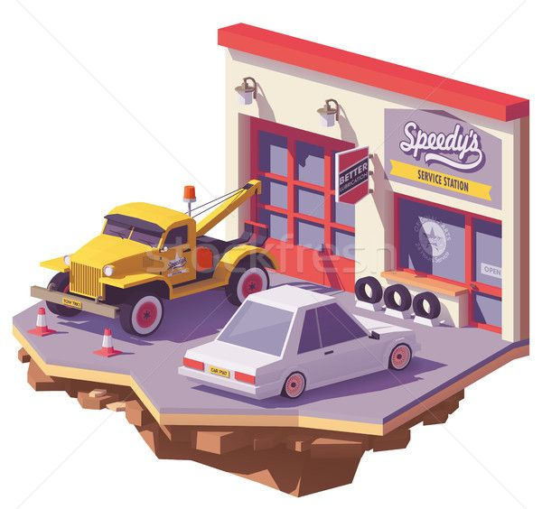 Vector low poly automobile repair shop stock photo (c) tele52 (#8809205) | Stockfresh