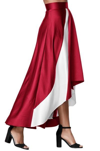 Burgundy Contrast White Insert Hi-low Maxi Skirt