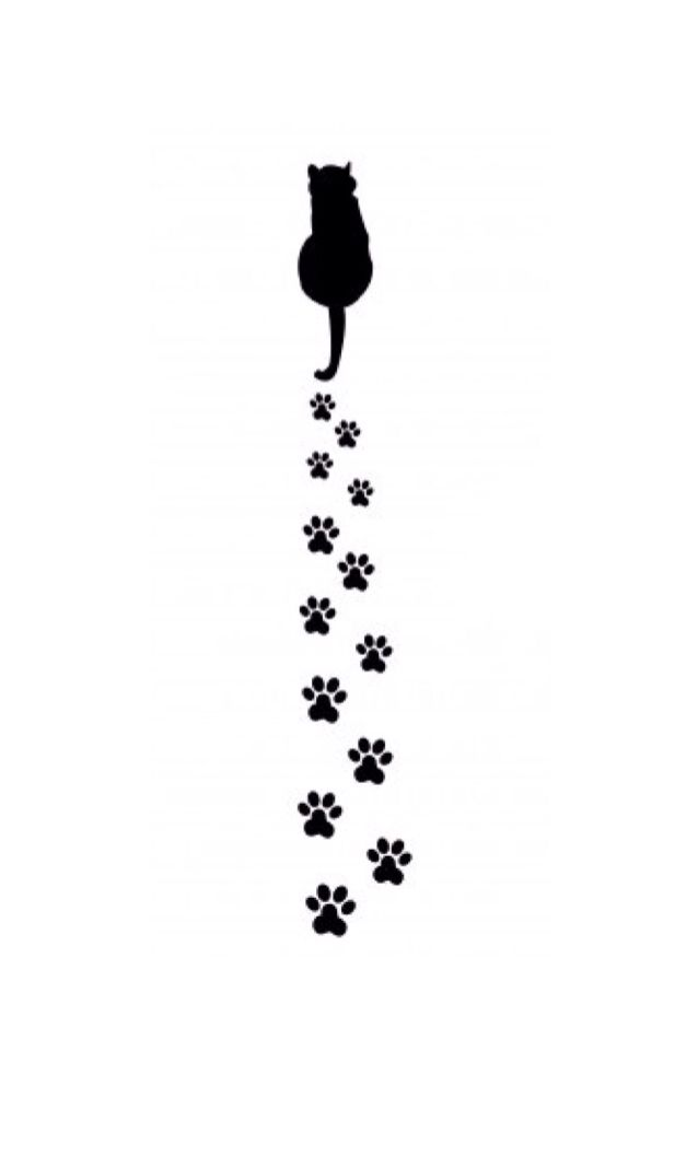Silhouette of Cat's Back & Paw Prints