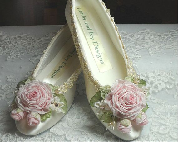 Princess Ballerina Shoes Roses Ribbon Work Flower Girl Wedding Bride's Shoes Novia on Etsy, $95.95