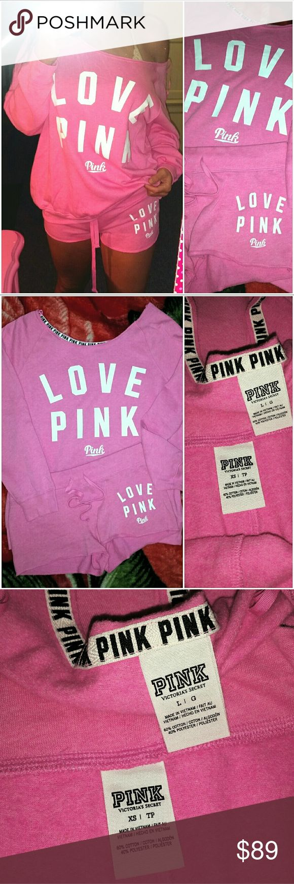 NEW VICTORIA SECRET PINK SLOUCHY CREW & SHORTS SET BRAND NEW WITHOUT TAGS.. LIMITED EDITION SHORTS AND SWEATSHIRT SET... SHORTS SIZE XS & SWEATSHIRT SIZE LARGE... NO TRADES! PINK Victoria's Secret Tops Sweatshirts & Hoodies