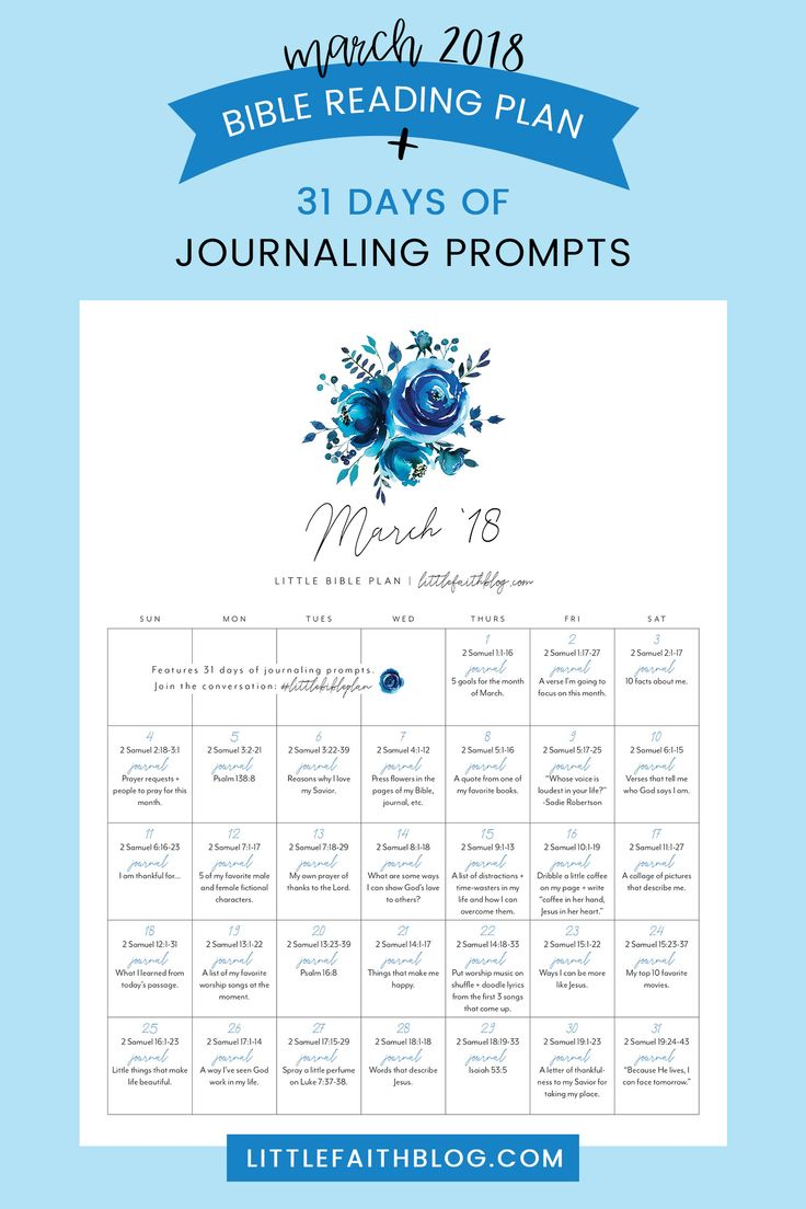 March 2018 Bible Reading Plan + 31 Days of Journaling Prompts for Your Bible, Journal or Little Faith Book! | littlefaithblog.com