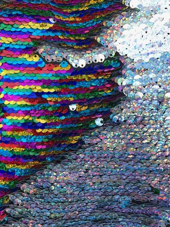 Mermaid Shiny Multi Color/Silver NewTwo Tone Flip up sequins/Reversible Sequins Fabric by the yard