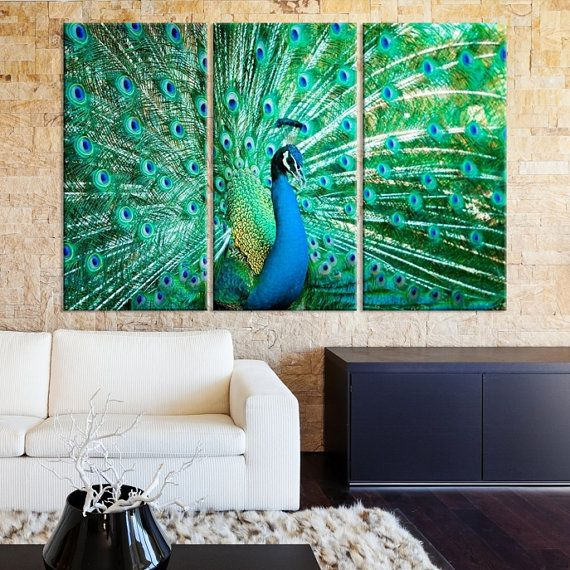 Portrait of peacock with feathers out,Colorful Wall Art Peacock Feathers Wall Hanging,Wildlife Bird,multi panel canvas,canvas painting by…