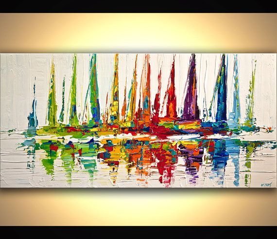 Colorful Sailboats Painting Original Contemporary modern Abstract Seascape Painting On Canvas Palette Knife by Osnat 48x24