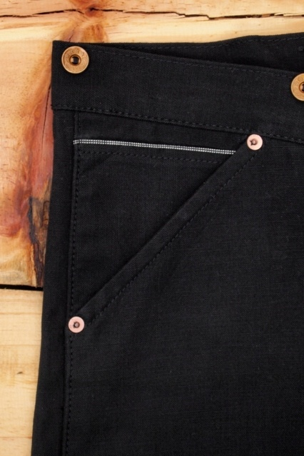 Oldblue Co. Work Pants Type I - Black Selvedge Duck | Coin Pocket Detail.