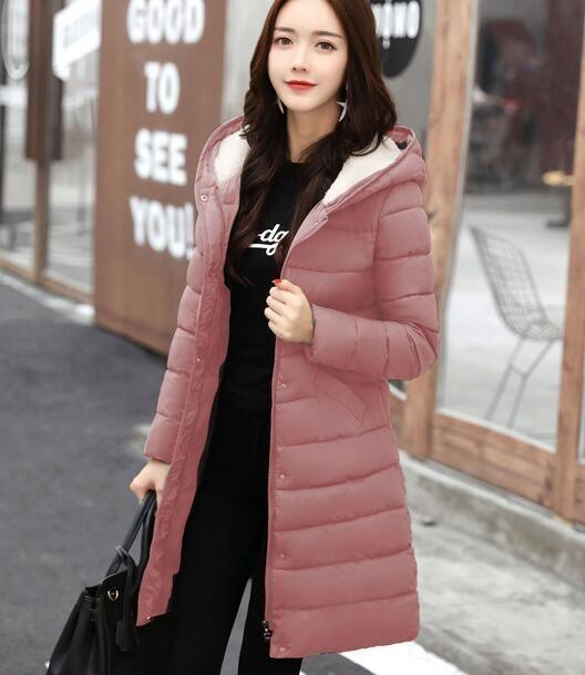 Fashion Winter Women Down Cotton Jacket Warm Long Hooded Coat Ladies Parka