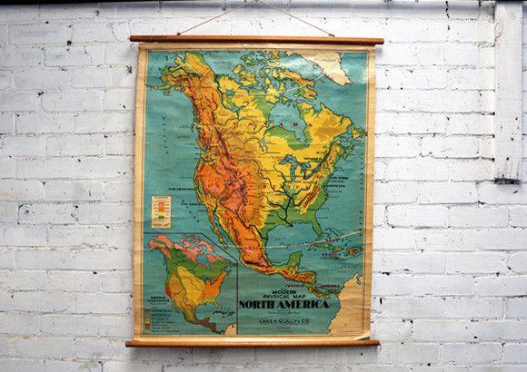 Vintage School Map - North America