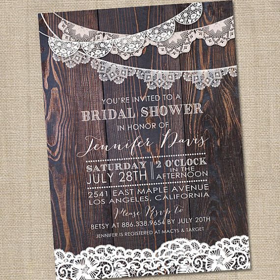 Rustic Lace Bridal Shower Invitation Rustic Bridal by partymonkey