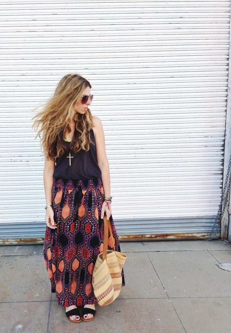 Bright eclectic maxi, relaxed black tank and boho adornment. Cute bohemian outfit for fall. Ascot Friday.