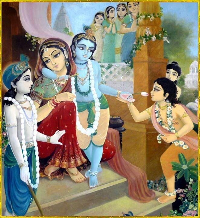 AlOkya mAthur mukha mAdarEna sthanyam pibantham saraseeruhAksham sachinmayam devam anantha roopam Balam Mukundam manasAsmarAmi Meaning: The one who looks affectionately at the mother's face while taking milk from her, the one who has eyes like the red lotus, the one whose form is Truth, Intelligence and the one who has other forms and is a Lord, I think of this Balamukundan
