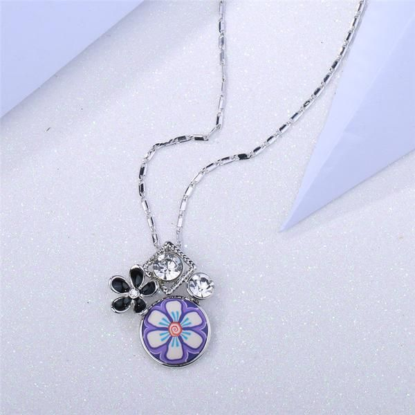 FuzWeb:ROXI Charms Pendant Necklaces for Woman Female Five leaf flowers Chains Necklace Party Beach Vacation Jewelry