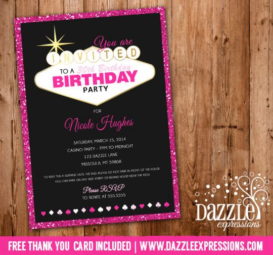 Printable Pink Glitter Vegas Birthday Invitation