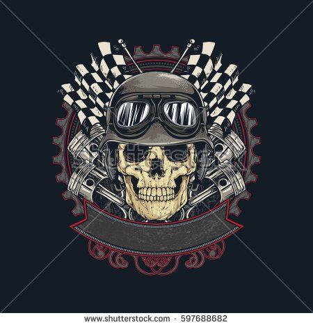 Vintage Biker Skull Emblem with flag and piston