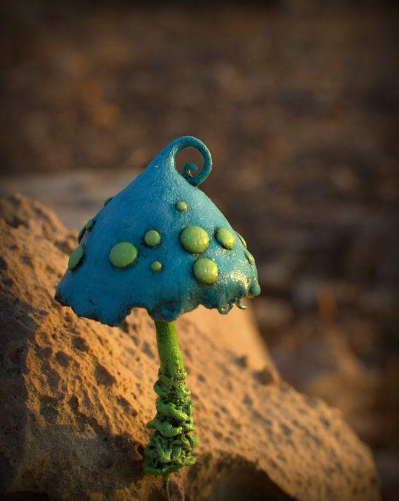 Light blue light green fairy garden fantasy mushroom by Petradi