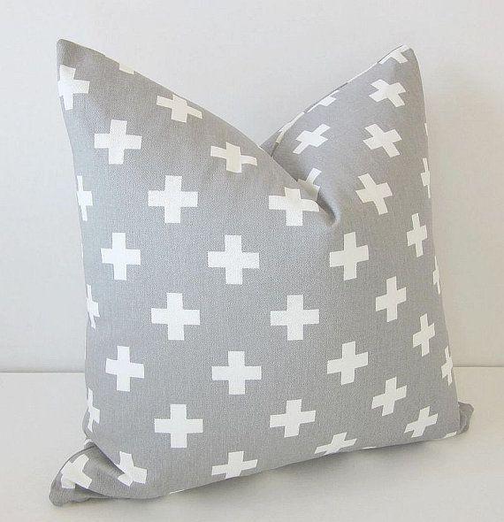 Gray Swiss Cross Pillow Cover Southwest by DesignerPillows4U