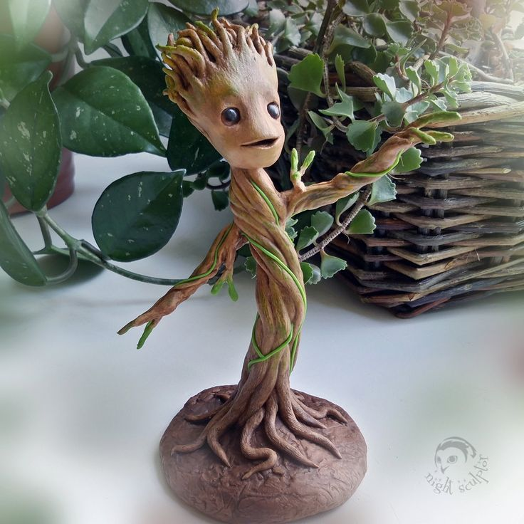 Baby Groot - Handmade figurine made of polymer clay baby Groot fantasy guardians galaxy little Groot polymer clay floral décor gift souvenir rusteam dancing Groot marvel fun ShamelessAdvTeam 75.00 USD #goriani