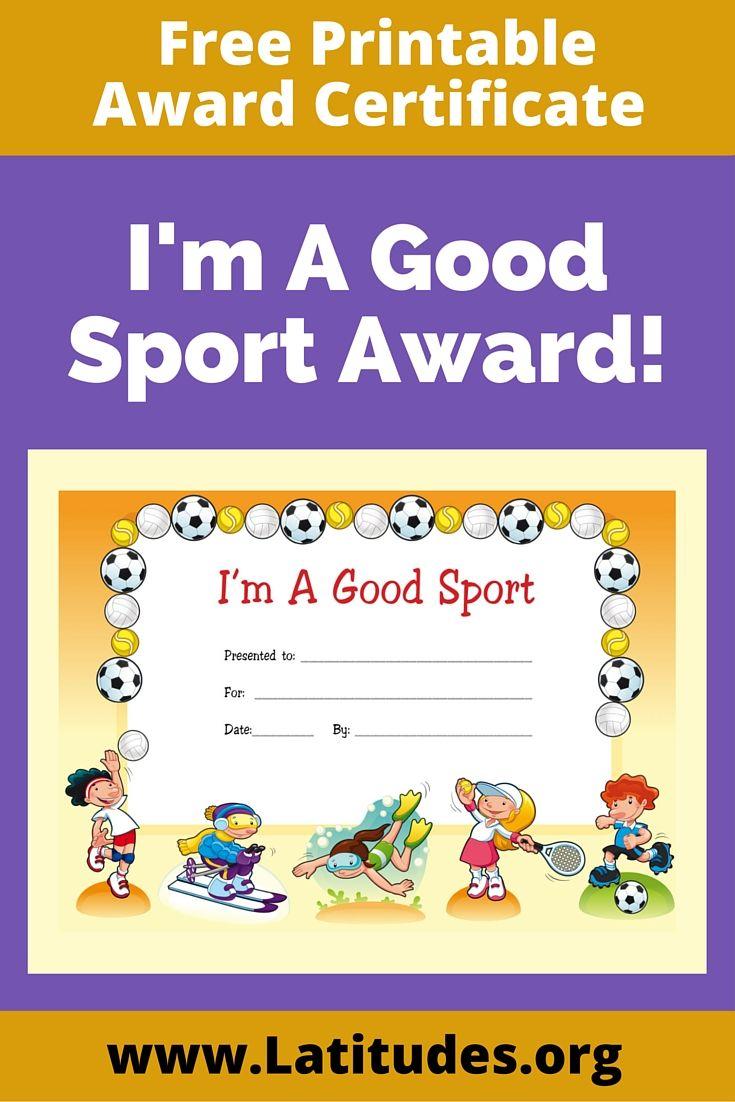 Award Certificate For Kids. Iu0027m A Good Sport!