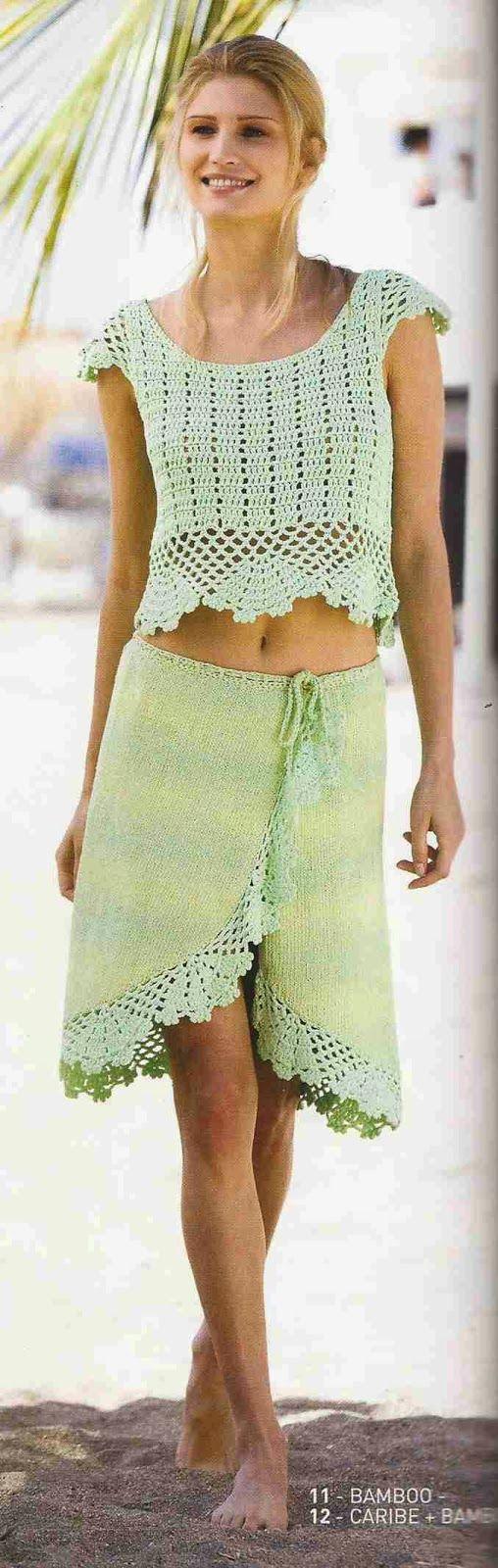 #58 Blusa y Falda a Crochet y Knitting o Dos Agujas