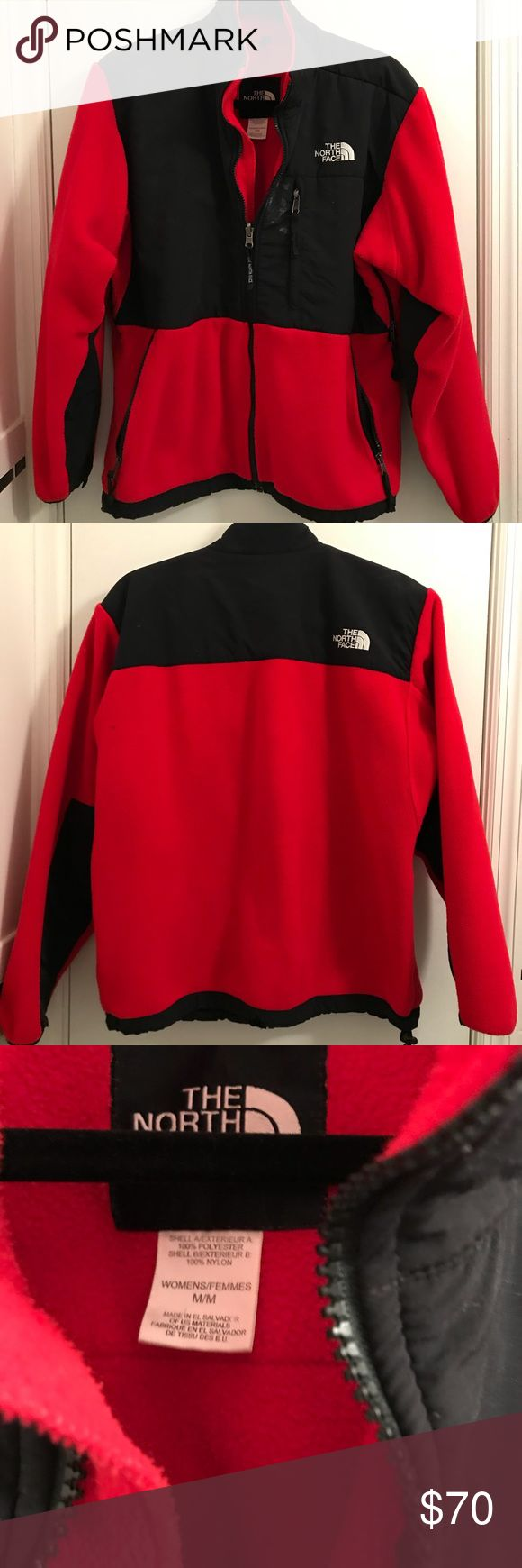 The North Face Women's Denali Fleece Jacket Red/black combo. Great for wintertime. Has a little white stain on the front by the chest zipper. The North Face Jackets & Coats Puffers